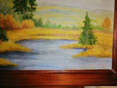 Predivan pejzaž reka i breze ULJE na lesonitu potpisana